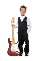 Boy holding a guitar