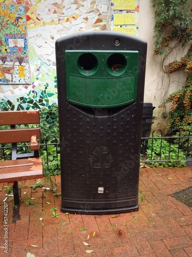 Smiling Public Recycling Bin