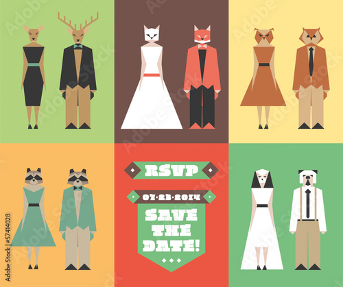 Wedding invitation figures with animal heads
