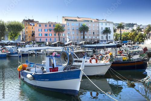 Fotobehang Stad aan het water Port Ajaccio Tino Rossi