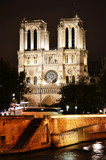 Notre-Dame Cathedral in Paris, France by night