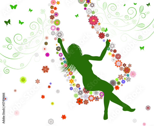 Spring girl on swing