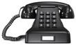 Black telephone.Black classic retro telephone. White label.