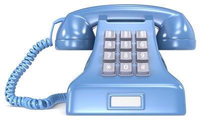 Blue telephone. Blue classic retro telephone. White label.