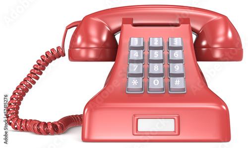 Red classic retro telephone. White label.