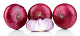Fresh red onions isolated on white