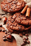 Homemade cookies with sesame seeds, chocolate,