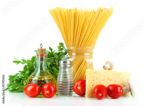 Pasta spaghetti with vegetables isolated on white