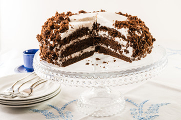 Chocolate crumb cake with white icing