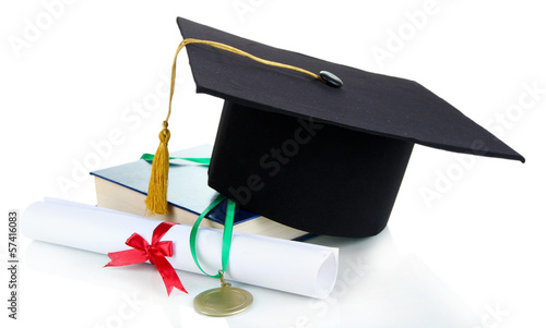 Medal for achievement in education with hat and diploma