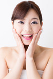 attractive asian woman skin care image