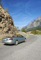 Convertible on the Sea to Sky Highway in BC, Canada