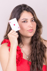 pretty young woman gambling