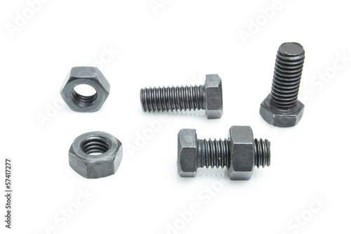 nuts and bolts isolated on a white background