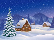 Christmas village at mountains - 57417475
