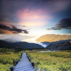 Beautiful high mountain sunset