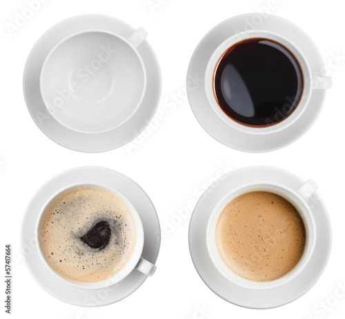 Poster Koffie coffee cup assortment top view collection isolated