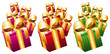 Colorful wrapped gift boxes with golden bows. Icons set.