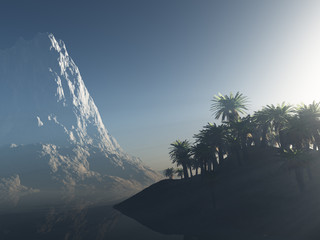 palm island and the mountain