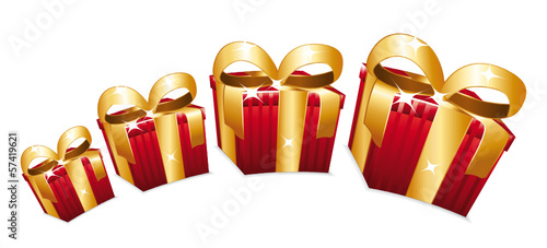 Red gift boxes with golden bow jumping.