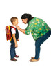 Mother prepare boy for school