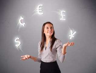 young lady standing and juggling with currency icons
