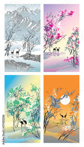 Four seasons in Chinese traditional style, vector
