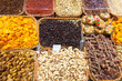 dried fruits and nuts on  counter