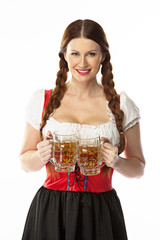 young and beautiful woman in a traditional Bavarian dress