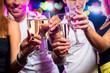 Obrazy na płótnie, fototapety, zdjęcia, fotoobrazy drukowane : Group of people with glasses of sparkling champagne