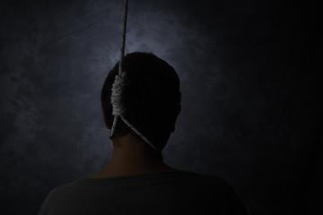 suicide, depressed man with a noose