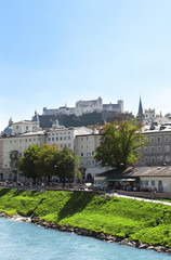 View of city Salzburg and Salzach river, Austria