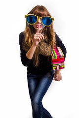 Cheerful woman with big sunglasses