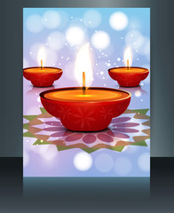 Beautiful card Brochure template diwali vector