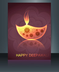 Card Brochure Beautiful template diwali colorful vector illustra
