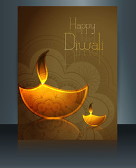 Beautiful diwali card reflection brochure template illustration