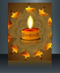 Brochure Happy diwali template festival vector illustration