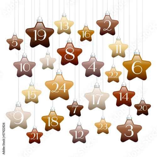 Advent Calendar Brown/Beige Stars