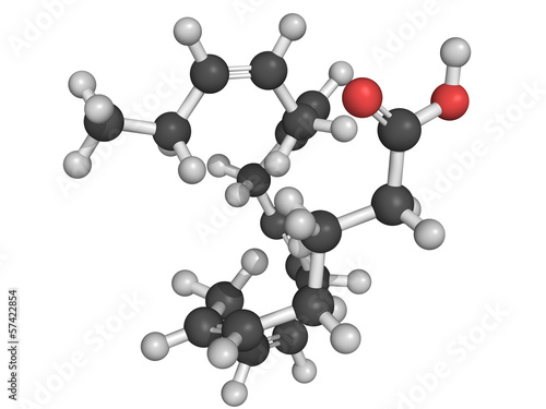 Eicosapentaenoic acid (EPA) omega-3 fatty acid, molecular model.