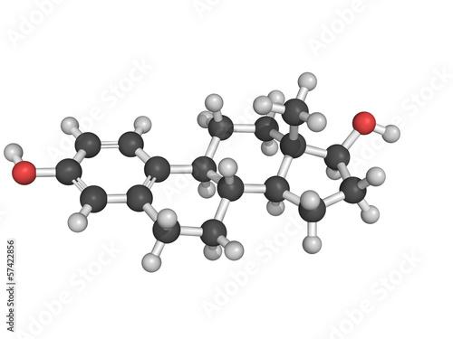 Estrogen (estradiol) female sex hormone, molecular model