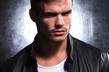 closeup of a young man fashion model
