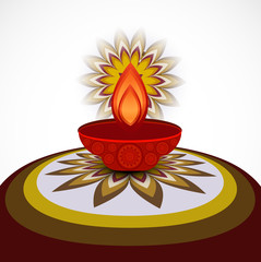 Beautiful card diwali rangoli design vector