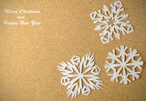 Christmas postcard with true paper snowflakes