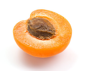 Apricot. Half isolated on white