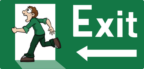 Exit sign with cartoon man running away