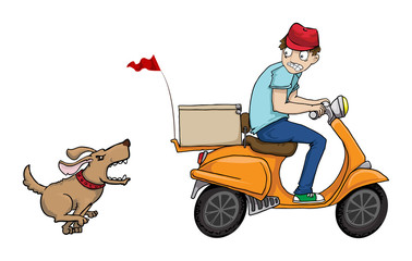 Boy on a scooter running away from angry dog
