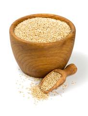 white quinoa in a wooden bowl