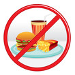 No Fast Food. Prohibition Sign. Vector Label.