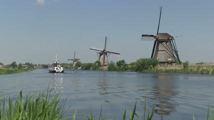 Dutch windmills and boat