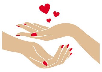 Women's hands with hearts